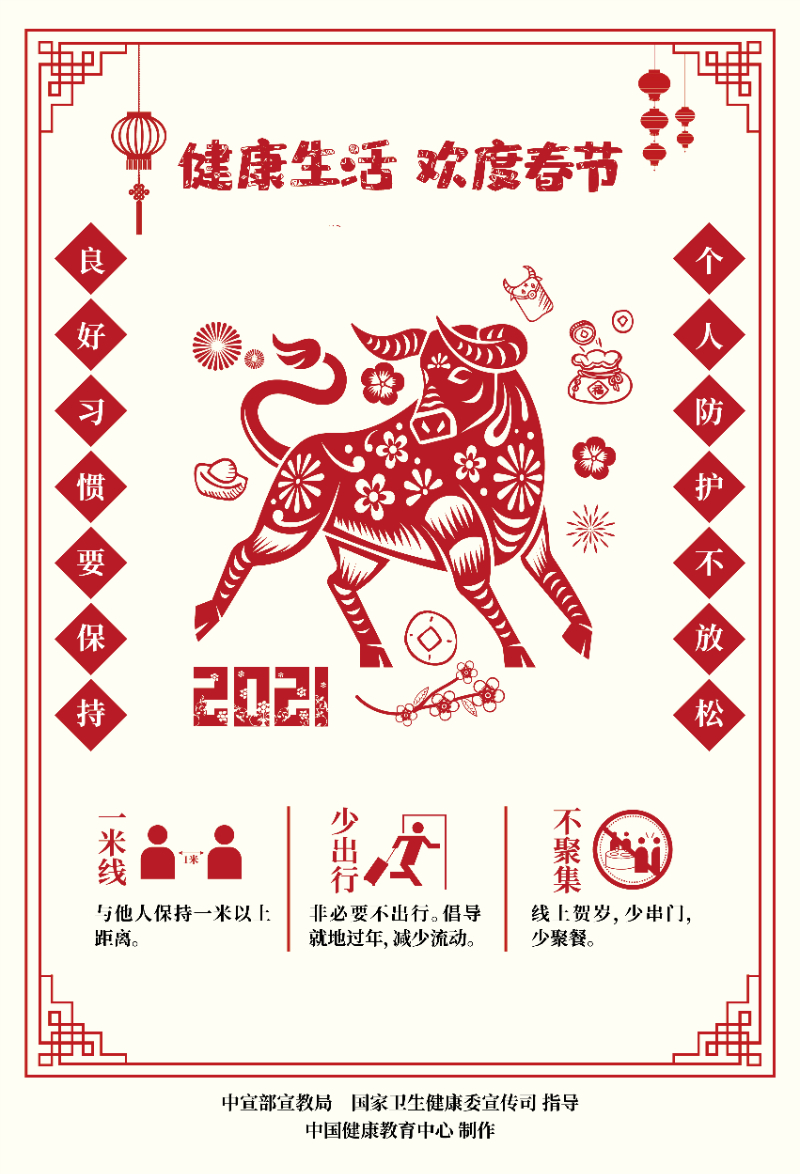 健康生活欢度春节疫情防控海报(剪纸)2